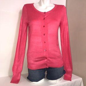 Express Hot Pink Rayon Mix Blend Cardigan Sweater